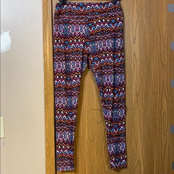 LulaRoe Brown Pink Blue Dreamcatchers OS Leggings NWT